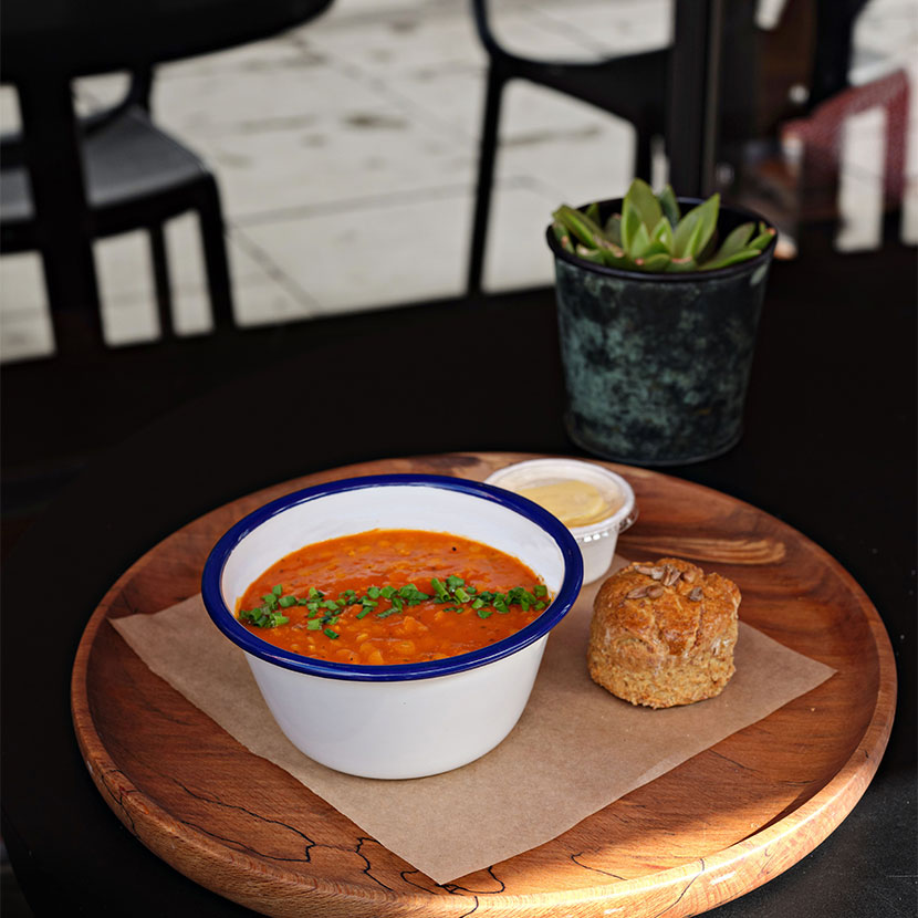 Soup in outdoor seating area